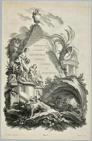 Frontispice pour le tombeau de Boyle, Locke et Sydenham