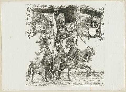 Le triomphe de Maximilien : cinquante-septième planche. Trois chevaliers avec les bannières aux blasons de la Styrie, de l'ancienne Autriche et de l'Autriche