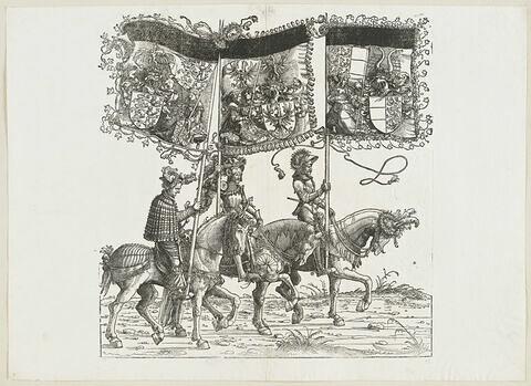 Le triomphe de Maximilien : cinquante-huitième planche.Trois chevaliers avec les bannières aux blasons de la Souabe, de la Carniole et de la Carinthie