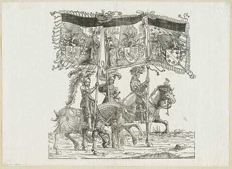 Le triomphe de Maximilien : cinquante-neuvième planche.Trois chevaliers avec les bannières aux blasons du Tyrol, de Habsbourg et de l'Alsace