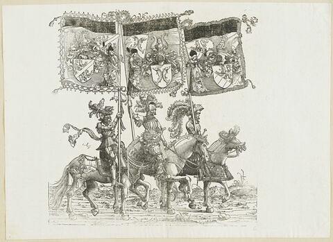 Le triomphe de Maximilien: soixantième planche. Trois chevaliers avec les bannières aux blasons de Kybourg, de Ferrette et de Goritz