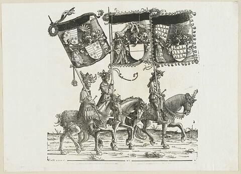 Le triomphe de Maximilien : soixante-deuxième planche.Trois chevaliers avec les bannières aux blasons de Säckingen, de Hohenberg et de Nellenburg