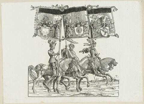 Le triomphe de Maximilien : soixante-troisième planche. Trois chevaliers avec les bannières aux blasons de Feldkirch, de Sunnenburg et de Glaris