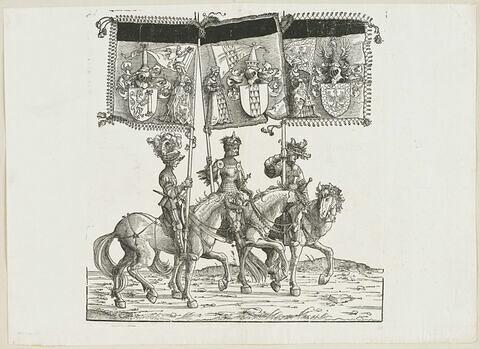 Le triomphe de Maximilien : soixante-cinquième planche. Trois chevaliers avec les bannières aux blasons de Saulgau, de Bregenz et de Fribourg