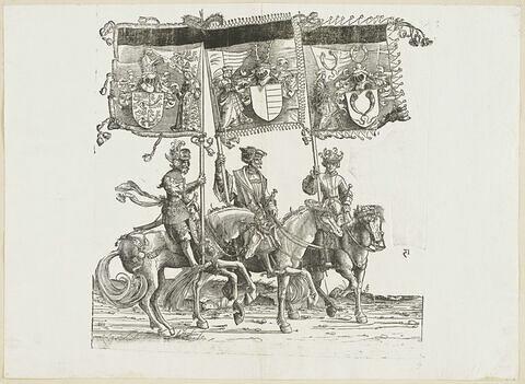 Le triomphe de Maximilien : soixante-neuvième planche. Trois chevaliers avec les bannières aux blasons de Thurgovie, de Razins et de Triberg