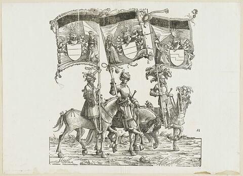 Le triomphe de Maximilien : soixante-treizième planche. Trois chevaliers avec les bannières aux blasons de Unterwaldsee, Oberwaldsee et de Duino