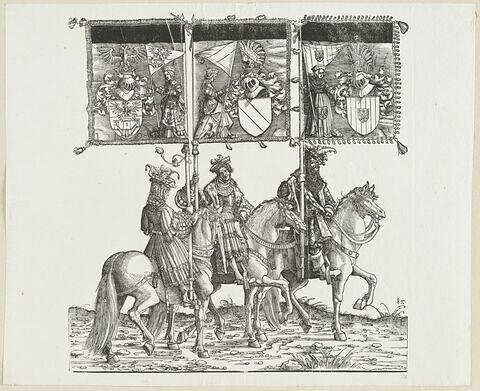 Le triomphe de Maximilien. Quatre-vingt-quatrième planche. Trois porteurs de bannières à cheval avec les armes d'Anvers, de Salins et de Malines