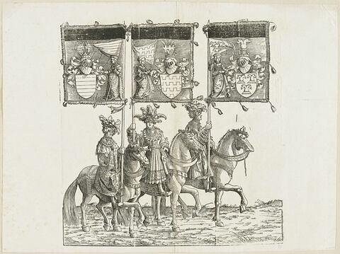 Le triomphe de Maximilien. Quatre-vingt-septième planche. Trois porteurs de bannières à cheval avec les armes d'Aussone, d'Arcus et d'Ostrevent