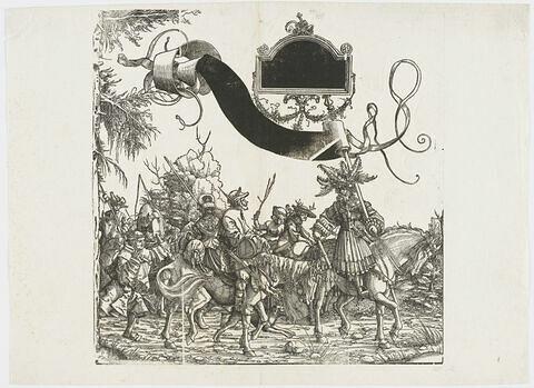 Le triomphe de Maximilien : Suiveurs à pied et à cheval : le chef de file du cortège