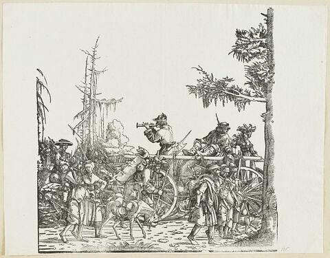 Le triomphe de Maximilien : Suiveurs à pied et à cheval