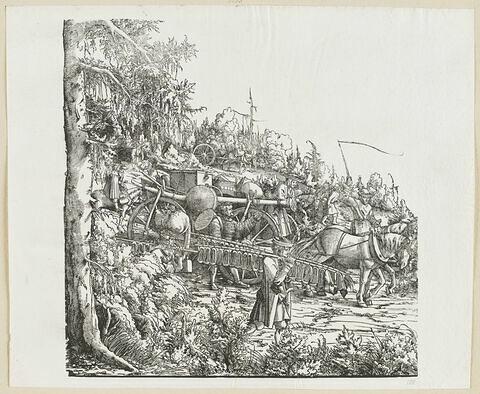 Le triomphe de Maximilien : Suiveurs à pied et à cheval : Vendeur de chaussures et convoi avec des marchandises