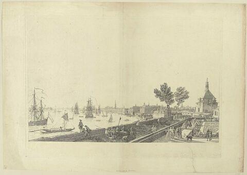 Vue de la ville et du port de Bordeaux prise du château Trompette