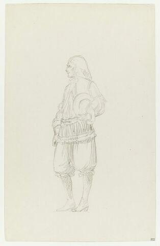 Personnage masculin en costume du XVIIe siècle. Etude pour la Réception de Condé à Versailles.