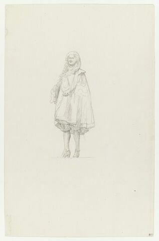 Personnage masculin en costume du XVIIe siècle, de face. Etude pour la Réception de Condé à Versailles.