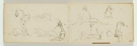 Deux figures gisant sur le sol, leurs têtes coupées sur une pique et figure assise et figure nue debout la tête inclinée