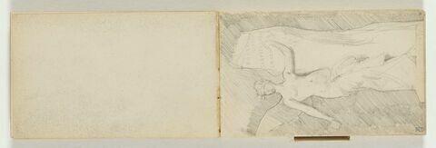 Projet pour une scuplture (reprise du croquis précédent) : figure féminine, torse nu, ailée gravant sur une pierre les noms de HOMERE / DANTE /  SHAKESPEARE / V. HUGO