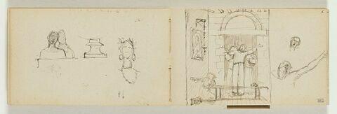 Trois moines devant la porte d'un couvent, reprise de la figure principale, bras écartés, et de sa tête