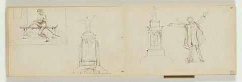 A gauche, intérieur d'une prison (?) avec figure nue assise sur un banc, tenant un enfant (?), dans un encadrement. A droite, projet pour un monument sculpté avec figure debout, bras écartés