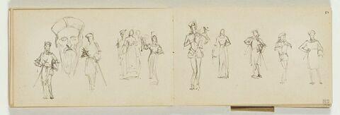 Cinq personnages en costume médiéval