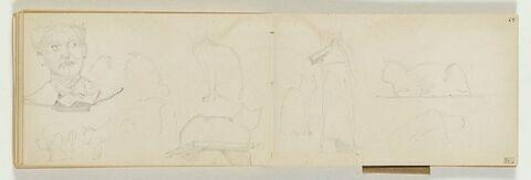 Divers croquis de chats et têtes d'homme sur un socle