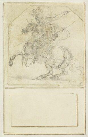 Projet de cartes à jouer : Cavalier de dos sur un cheval cabré, tenant une lance