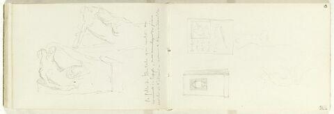 Urne dans une niche ; stèle funéraire avec inscription illisible et deux croquis de figures