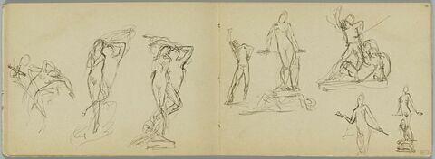 Cinq croquis pour des sculptures dont trois études pour une femme nue debout avec une jarre à ses pieds (reprise du motif dessiné au folio 8 verso)