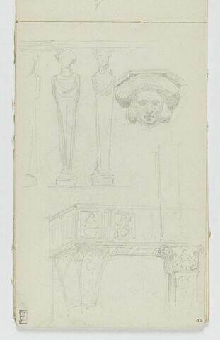 Détail d'une balustrade avec piliers en forme de termes ; tête de face ; détail d'un balcon orné