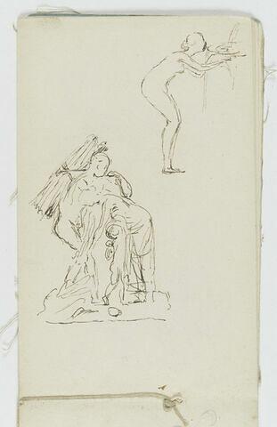 Etude pour un groupe sculpté avec un homme portant un fagot sur son dos, une femme et enfant près de lui