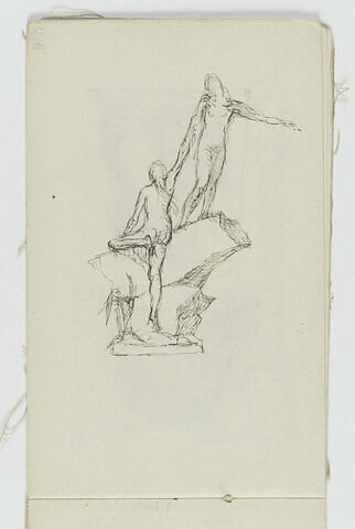Femme nue debout sur un rocher aidant une femme nue, de dos, à escalader