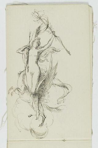 Femme nue debout tenant un bâton fleuri et cheval ailé dans les nuages