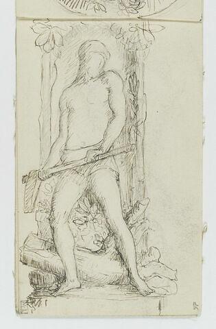 Homme vêtu d'un pagne, tenant une masse à deux mains, debout dans une niche