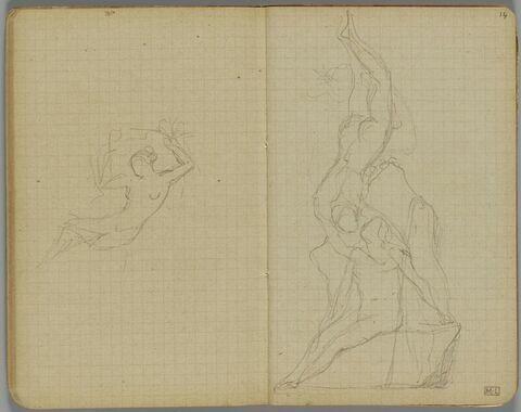 Projet pour un groupe sculpté avec un homme plongeant vers une femme nue assise sur un rocher