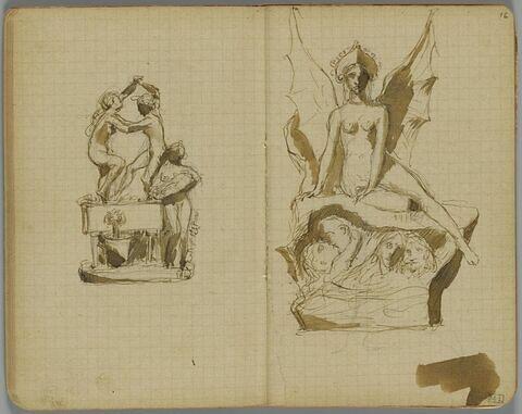 Femme nue, ailée une couronne sur la tête, assise sur un rocher avec quatre têtes dans une anfractuosité