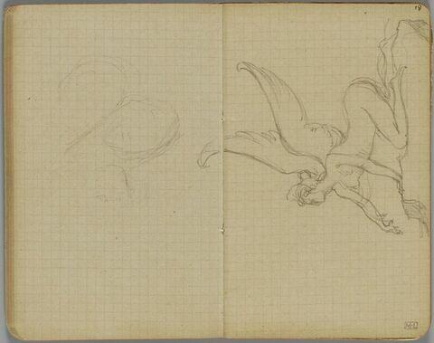 Une sphinge agenouillée, de profil à gauche, sur un rocher (la crête d'une des ailes est dessinée sur le folio 17 verso)