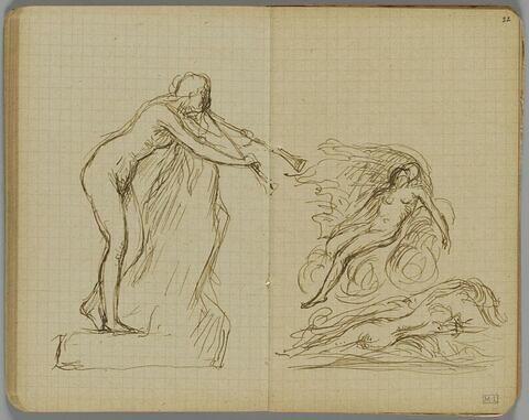 Femme nue debout sur un rocher, penchée en avant, soufflant dans deux trompettes (l'extrémité de l'une d'elles est dessinée sur le folio 22 recto)