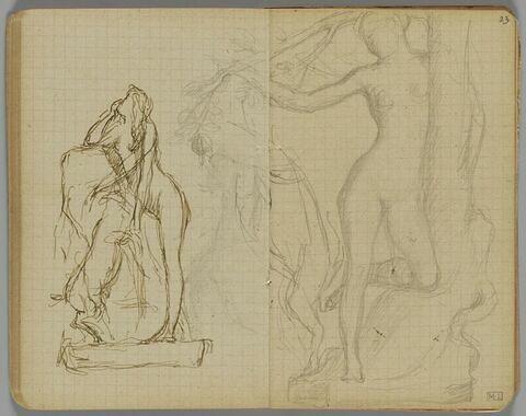 Femme nue, debout, près d'un rocher avec un chien (?) debout sur ses pattes arrière (une partie du dessin du folio 23 recto apparait)
