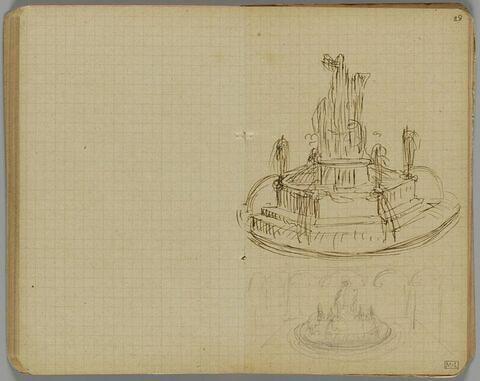 Projet pour une fontaine et autre projet pour une fontaine sur fond d'arcades