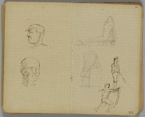 Quatre croquis : femme nue assise sur le sol ; buste de femme ; pêcheur, de profil à droite ; homme avançant vers la droite, tenant un bâton