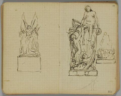 Projet de sculpture avec une figure assise sur le rebord d'un muret (?) et deux figures en contrebas tendant les bras. Petit croquis de figure en bas