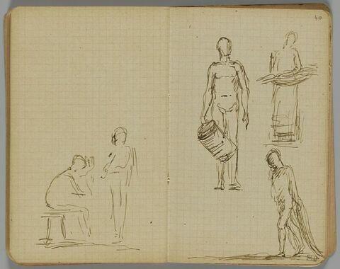 Deux croquis de figures, l'une assise sur un tabouret, l'autre debout