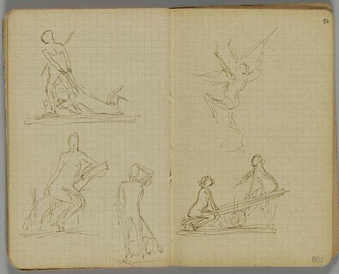 Trois croquis. Femme nue tirant un animal par les pattes avant ; femme nue assise sur un tronc d'arbre incliné ; homme nu, de face, bras gauche replié