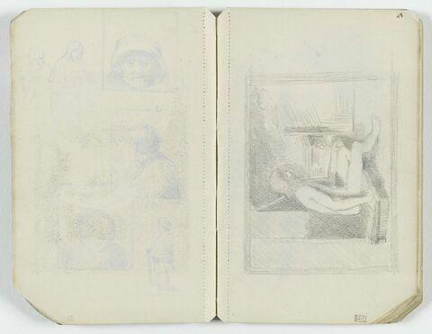 Personnage nu, assis sur un petit coffre, de profil à droite, dans un intérieur. Encadrement rectangulaire