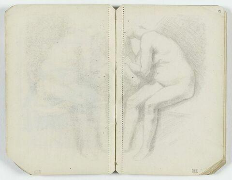 Femme nue, assise, de trois quarts à gauche, d'après Rembrandt