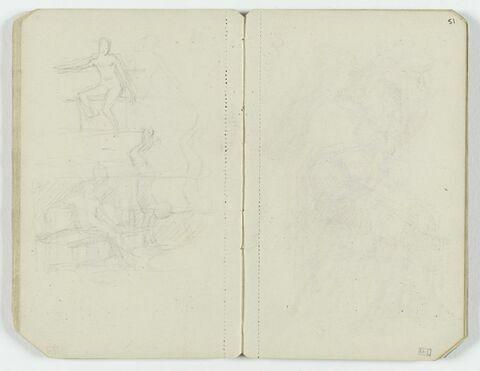 Deux figures nues assise, l'une de trois quarts à gauche, l'autre de trois quarts à droite