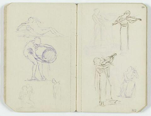 Quatre croquis de musiciennes, drapées, dont trois jouant du violon