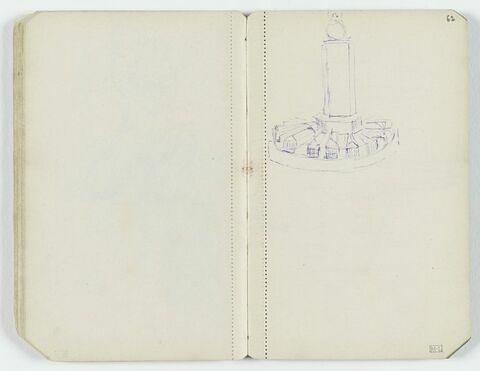 Petit croquis de monument avec pilier carré surmonté d'un globe et petites maisons entourant la base, en étoile