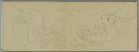 Fillette nue, assise, jambes croisées, de profil à droite, tricotant