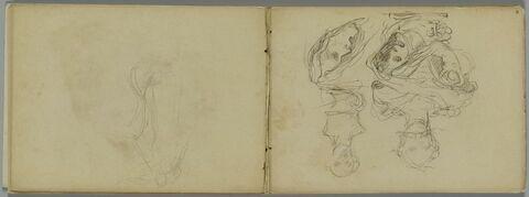 Deux croquis de bustes sculptés, femme nue levant les bras, deux têtes grimaçantes, l'une de profil à gauche
