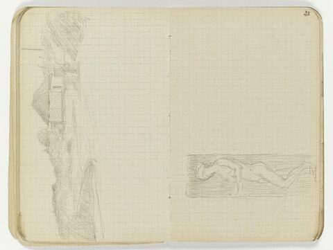 Femme nue debout, se détachant sur un rectangle sombre